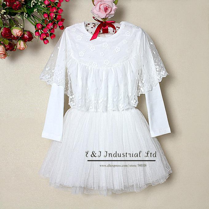 Spring Kids Dress Baby Girl Tutu Lace White Dress Princess Dresses Infant Apparel For Children Clothing 5PCS / LOT(Hong Kong)