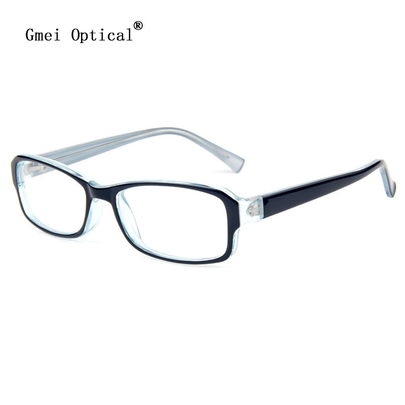 black and clear plastic rectangular full rim optical frame perception collection men women eyeglasses frames