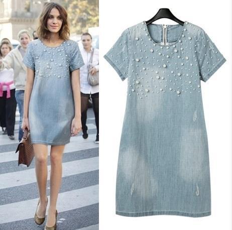 S-5xl 2015 Women Femininos A-line Denim Plus Size Dress/o-neck Pearl Short Sleeve Loose Casual Jeans Natural Dress 3xl,4xl,5xl(China (Mainland))