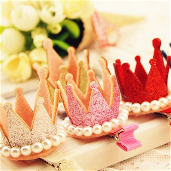 New Princess Crown Hairpins Hair Accessories Resin Diamond Gliter Pearls Girls Tiaras Headwear Baby Xmas Dancing Party Hair Clip(China (Mainland))