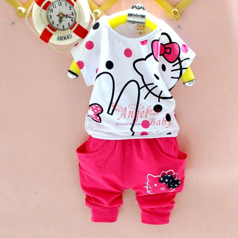 2pcs/set (T-Shirts+Pants) Hello Kitty Little Girls Clothes Sets Good Quality Cotton Fabric Summer Girls Clothing CC209-HDR(China (Mainland))