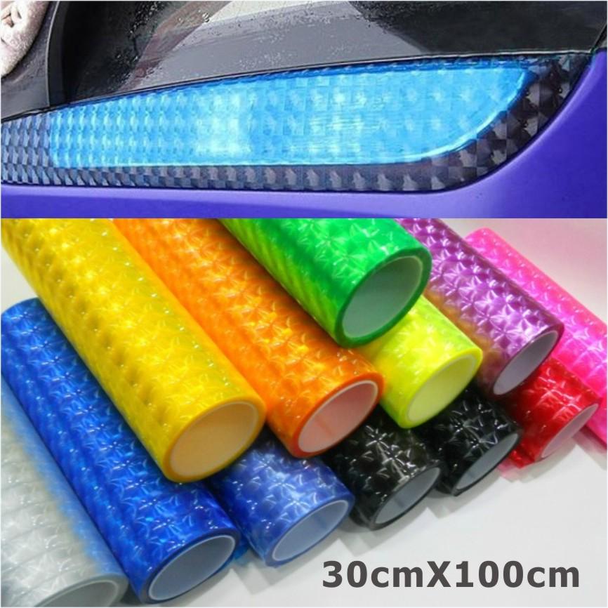 30cm*1m 12 colors styling Auto 3D Cat's Eye Car Sticker Smoke Fog Light HeadLight Taillight Tint Vinyl Film Free Shipping