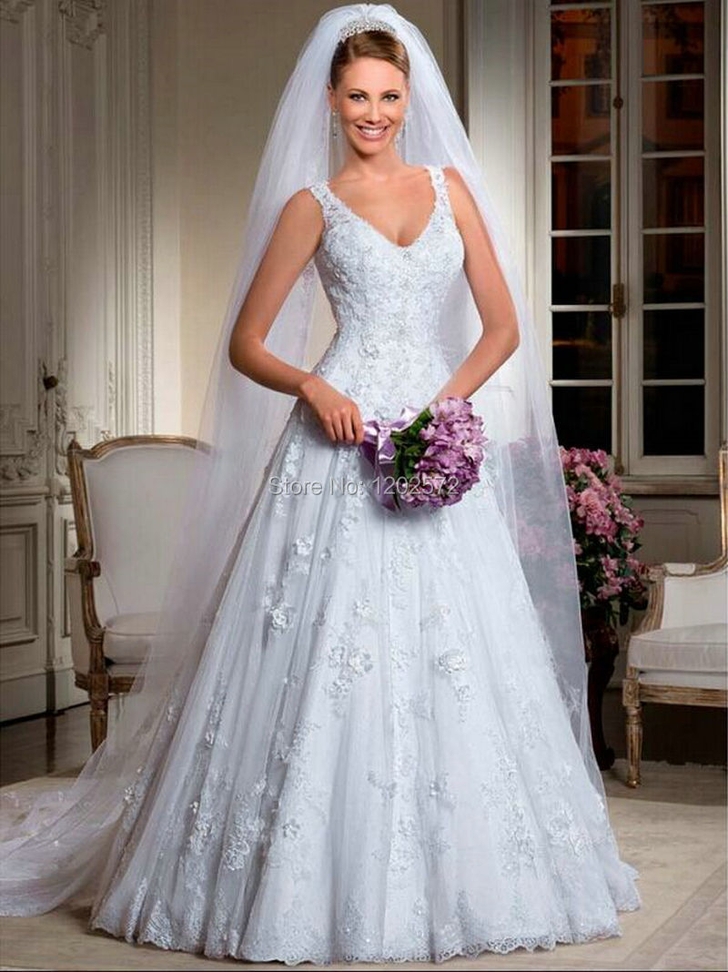 Robe De Mariee Vernassa V Neck Wedding Dress Beaded