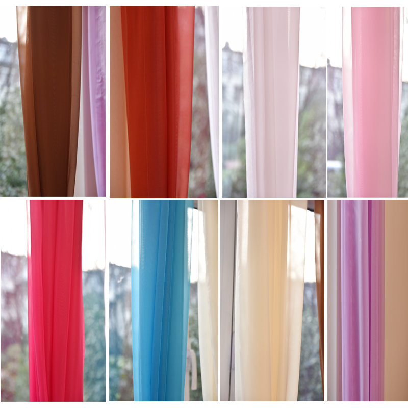 2016 New Purple Red 9 color Modern Minimalist Semi-Shielding Tulle Curtains Hook Punch General Pleat Living Room Hot sale-A0016(China (Mainland))