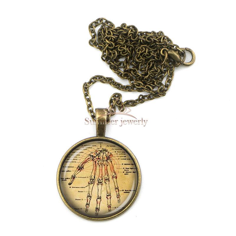 BZA0328 human hand anatomy necklace,hand skeleton bones picture pendant ,medical student nurse gift idea