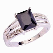 New Fashion Jewelry Black Spinel Junoesque 925 Silver Ring Size 6 7 8 9 10 11 12  For women Free Shipping Wholesale