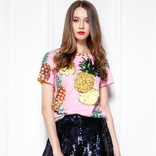 Pink sequins pineapple print Summer T shirt Women short -sleeve fashion tshirt Tops(China (Mainland))