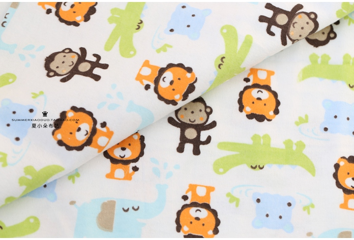 50 110cm 100 cotton flannel fabric for children monkey for Baby monkey fabric prints