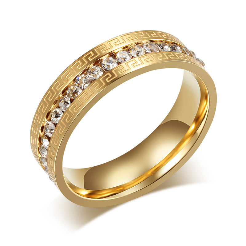 18k Gold Filled Wedding Rings For Women And Men Stainless Steel Great Wall Imitation Diamond
