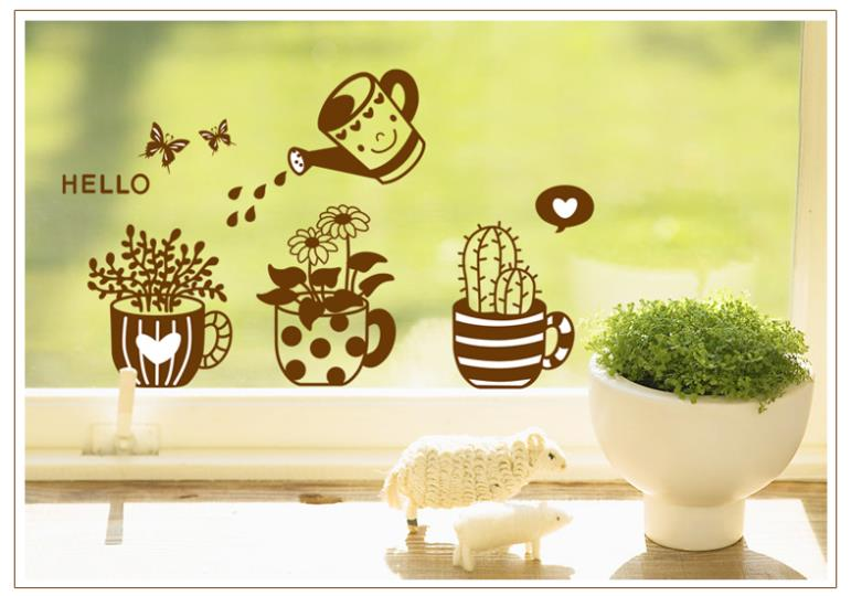 ZY6018 Pot Plant Flower Butterfly Nature Lovely Window  Decal Vinyl Wall Sticker PVC Decor Decoration DIY Home Living Room