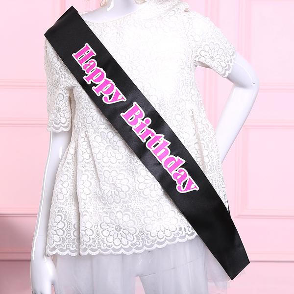 New Fashion Happy Birthday Sash Black Sash White Pink