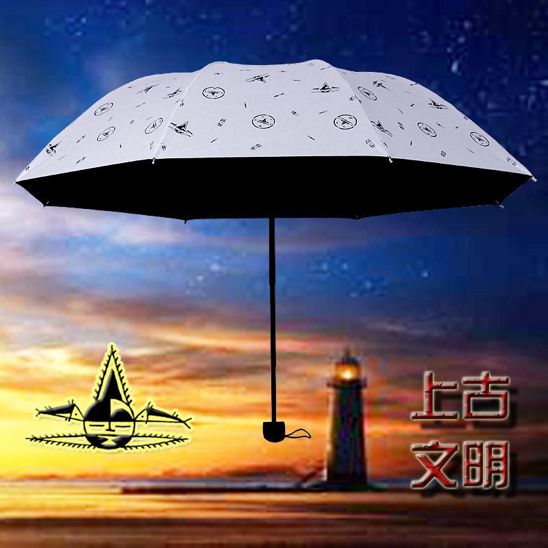 UV sun umbrella dual-purpose sunshade case seventy percent off Baltic black glue umbrella in ancient civilization(China (Mainland))