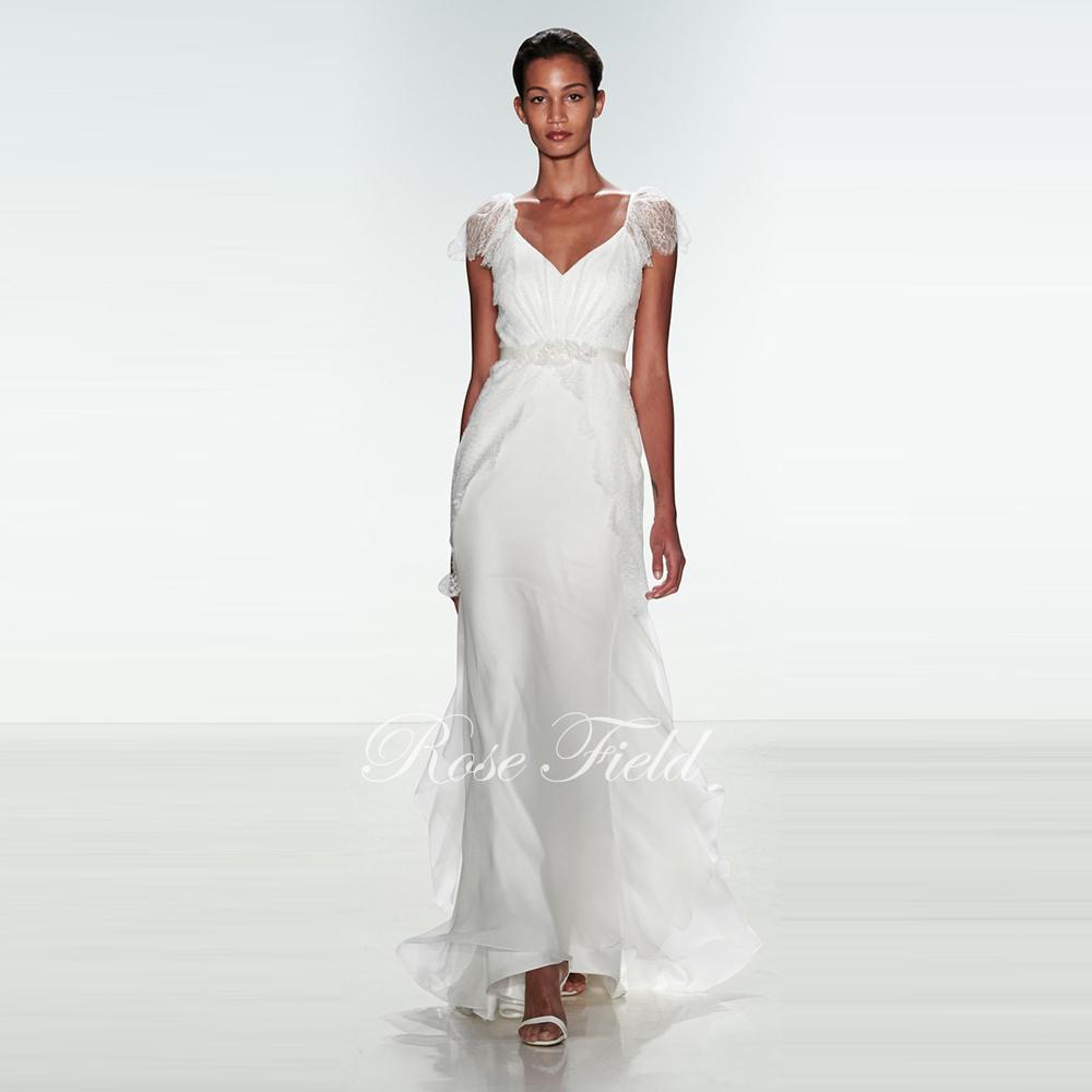 SL 022028 Modern A line V neck Cap Sleeves Chiffon Beach Wedding Dress