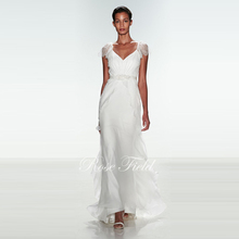 A-line V-neck Cap Sleeves Chiffon Beach Wedding Dress