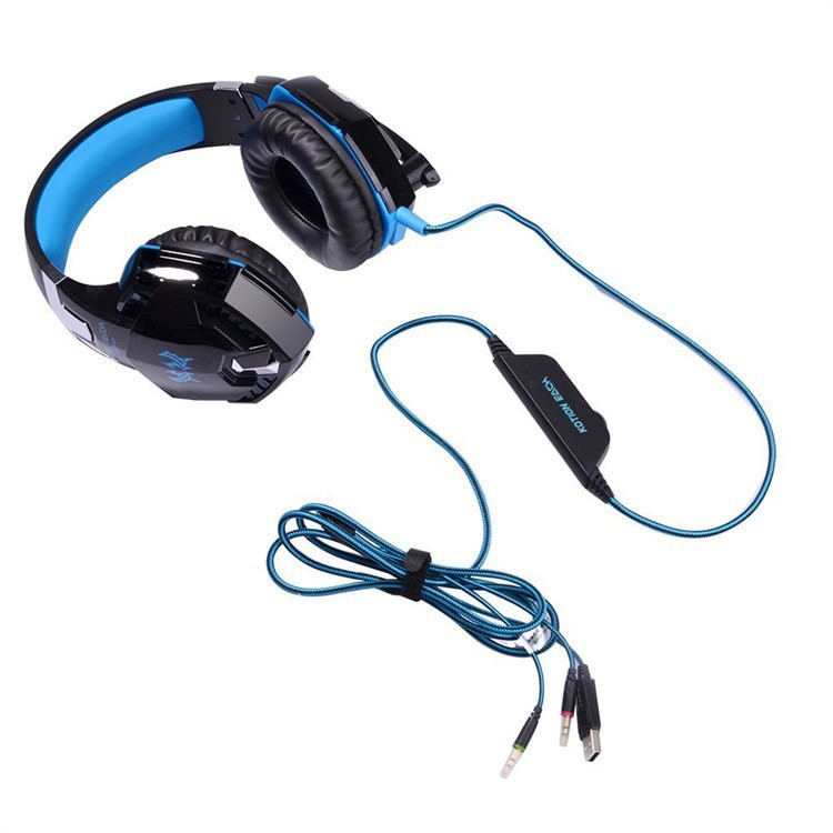EACH G2000 Anti-noise Dazzle Lights Stereo Gaming Headset For PC Gamer ecouteur Glow Headphones With MIC USB+3.5mm Audio Cable