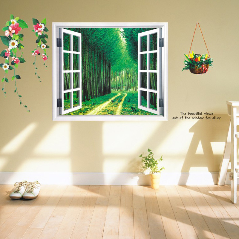 Wallpaper 3d Home Decoration Diy Window Sticker Fake Landscape Flower Wall Stickers Home Decor