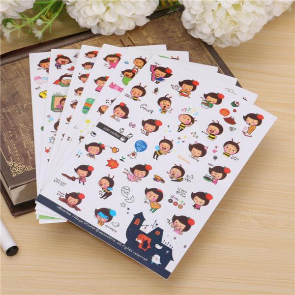 Гаджет  6 PCS Honey Bee Cartoon Girl Transparent Stickers Scrapbook Calendar Diary Planner Decorative Paper Sticker None Офисные и Школьные принадлежности