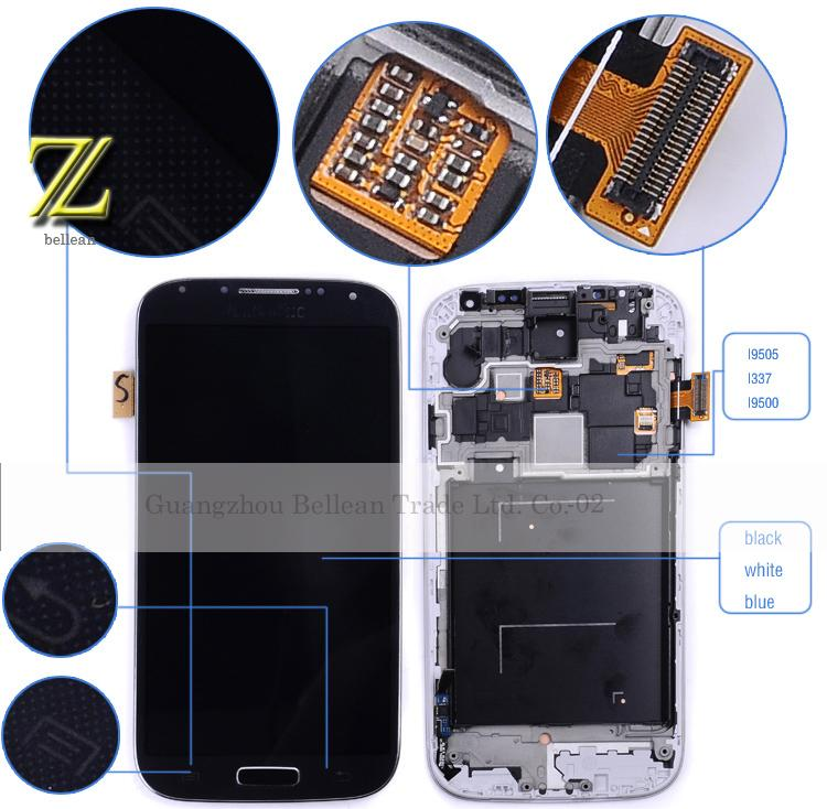 s4 lcd for samsung galaxy S4 i9500 lcd display touch screen with frame 1pcs free shipping china post 15-26day+tools(China (Mainland))