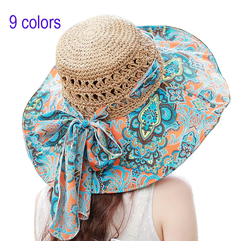 girls women sun flower bow summer elegant ladies' hats Straw Floppy collapsible beach cap large brimmed Bohemia outdoors visors(China (Mainland))