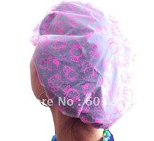 Free EMS 200 Pieces Mixed Hello Kitty Cartoon Bathing Cap Shower Cap Hat Waterproof Hair Cover Chirstmas Gift(China (Mainland))