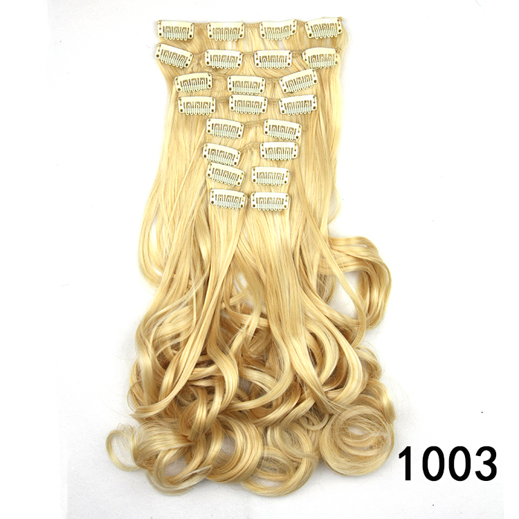5SETS 23inch/60cm 155g thickest synthetic hair curly clip in hair extensions multi color white girl hair extensions
