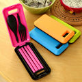 New Outdoor Travel Picnic Portable Tableware Eco friendly Spoon Fork Storage Box