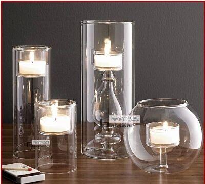 European Modern Glass Candlestick Crystal Glass