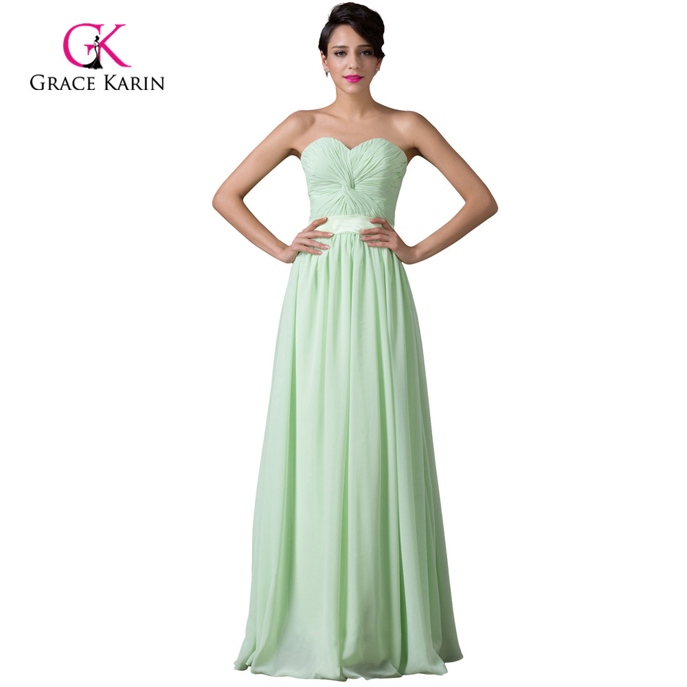 Modest grace karin cheap long mint green bridesmaid for Mint bridesmaid dresses wedding