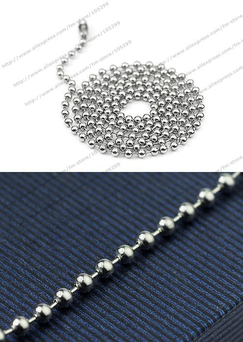 Free shipping wholesale 316l stainless steel chains 2.0mm 18 inch stainless steel ball necklace ball chain never running color(China (Mainland))