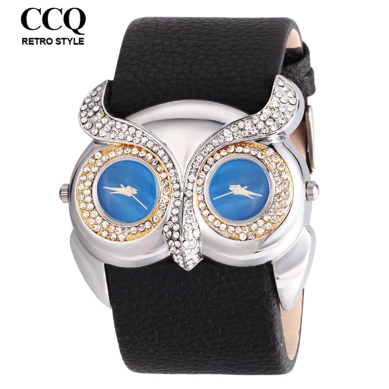 2016 New Animal Novelty Owl Watch Wide Pu Leather Fashion Watch Dual Time Zone Dress Watch Women Men Casual Wrist Watches(China (Mainland))