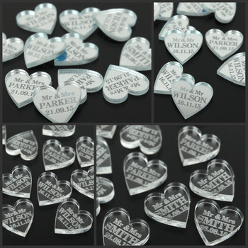 50 pieces Personalized * Mirror / Clear MR & MRS Surname Love Heart Wedding Table Decoration Favors Customized 2 Cm * 2 Cm