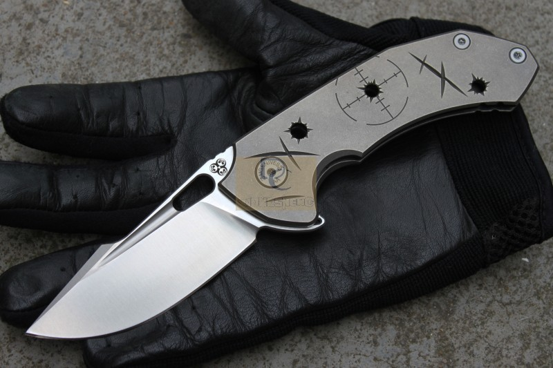2015 New MG Tyrant Flipper folding knife ball bearing washer N690 blade Bullet holes titanium handle