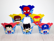 Superhero Avengers Cupcake Toppers Wrappers Super Hero Birthday Party Decorations Party Supplies Birthday Party Decorations Kids(China (Mainland))