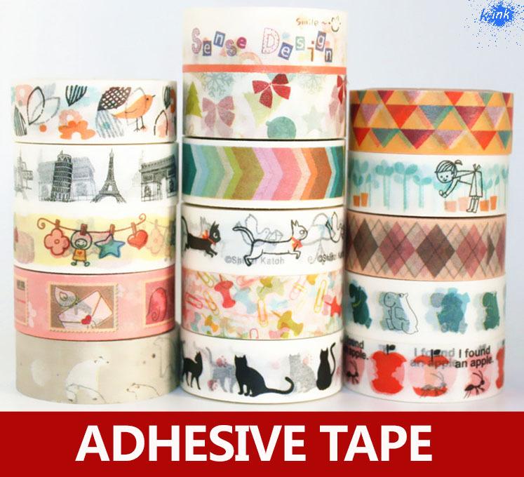 20pcs / lot , colorful chevron / Paris / cat Japanese wahi sticky tape set for scrapbooking , masking , home decoration<br><br>Aliexpress