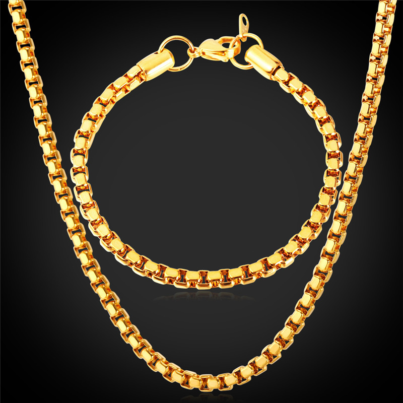 18K Gold Jewelry Box Chain Bracelet Necklace Set Cool Item 5MM 55CM 21CM Hot Sale Trendy Men Gold Plated Jewelry Set GNH1148(China (Mainland))