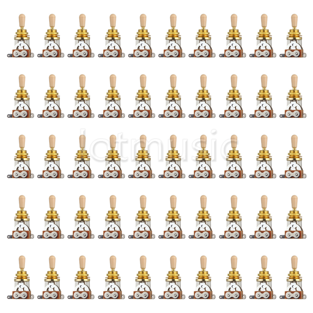 50pcs Golden Electric Guitar 3 Way Toggle Switch Pickup Selector W/ Cream Tip(China (Mainland))