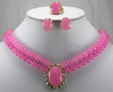 Jewelry 00837 nice double rows 8mm pink jade necklace pendant earrings ring set (China (Mainland))