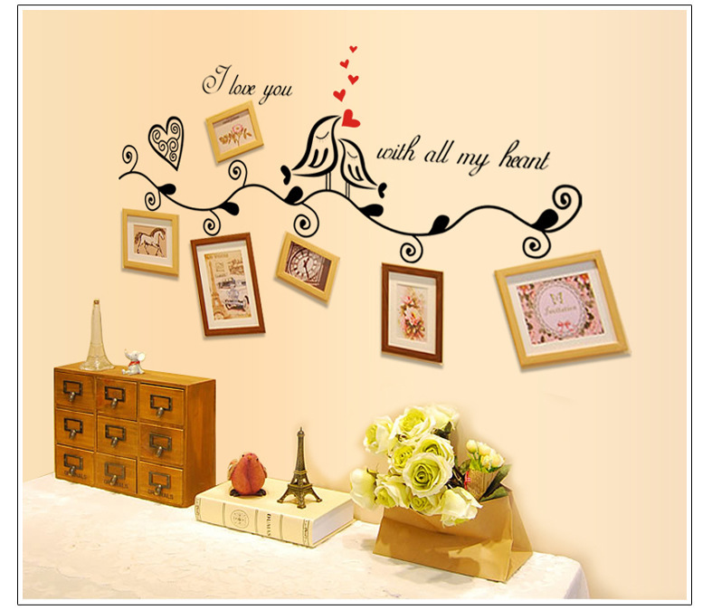 Special AY 1006 Announce Good News Bird No Phase Frame Photo Collocation Wall Stickers Decoration Bar PVC home decor(China (Mainland))