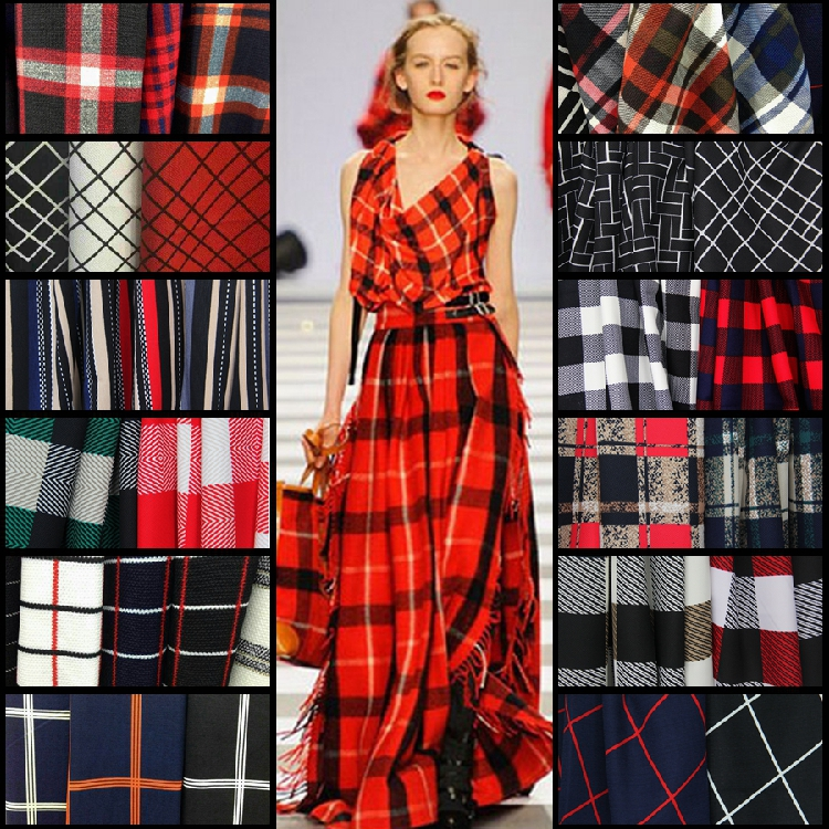 Customized 150cm width lattice font b tartan b font stripe soft Chiffon satin silk cotton Cloth