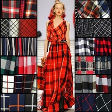 Customized 150cm width lattice tartan stripe soft Chiffon satin silk cotton Cloth Fabric Shirt coat scarf blouse Headdress