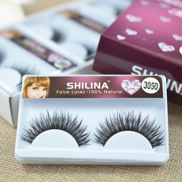 SHILINA 3050 Natural Mink False Eyelashes 1 pair Long Eyelash High Quality Fake Eye Lashes Extension Band Makeup Wholesale *(China (Mainland))