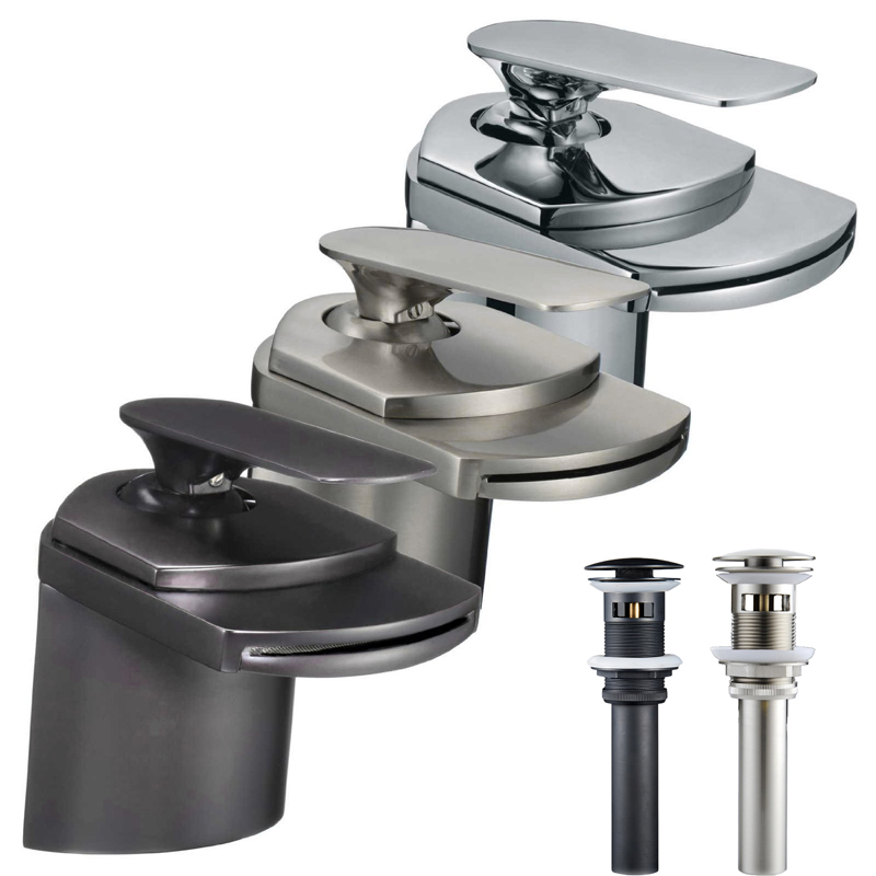 Free Shipping Waterfall Bathroom Vanity Sink Faucet Single Lever Brass Basin Taps with Hot and Cold Water(China (Mainland))