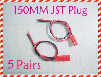 F00153-5 Wholesale 150MM 15CM JST Connector Plugs Wire RC Lipo Battery