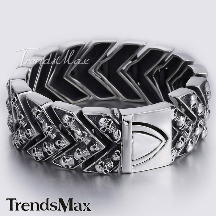 25.5mm Mens Boys Chain Black Silver Tone Carved Skulls Arrow Link 316L Stainless Steel Bracelet Wholesale Gift Jewelry LHB375<br><br>Aliexpress