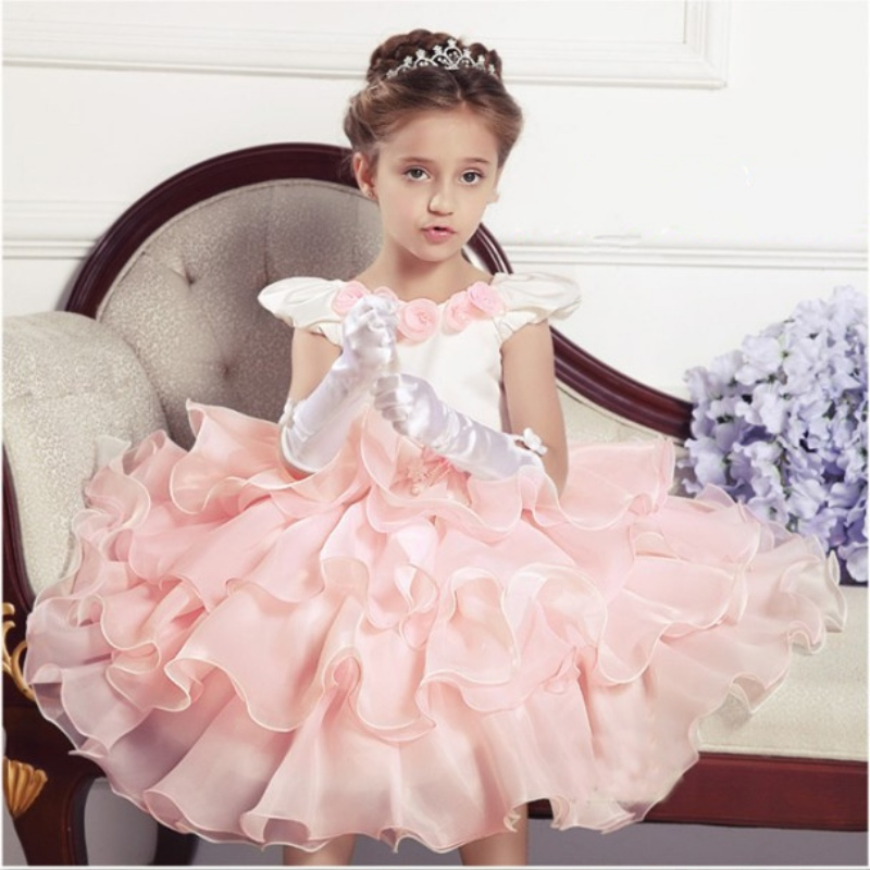 Girls Bridesmaid Dress Kids Princess Flower Bow Wedding Party Summer Dresses New Arrival PE3(China (Mainland))