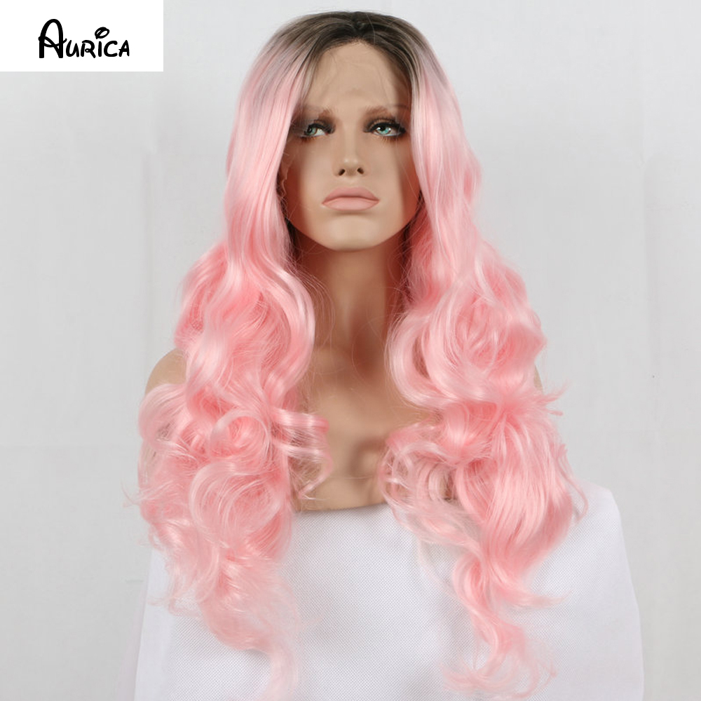 Fashion Natural Ombre Pink Loose Wave Synthetic Lace Front Wig Glueless Short Dark Brown Roots Heat Resistant Hair Women Wigs<br><br>Aliexpress