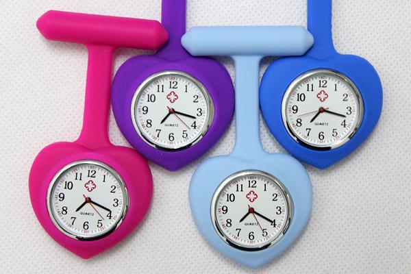 200pcs/lot wholesale DHL shipping heart shape nurse watch women Professional Useful Medical pocket Watch(China (Mainland))