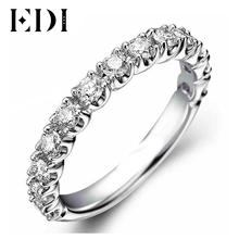 EDI Классический Реального Бриллиантовое Обручальное Обручальное кольцо Натуральный Ювелирные Изделия С Бриллиантами Для Женщин 9 К Твердого Белого Золота Обручальные Кольца(China (Mainland))