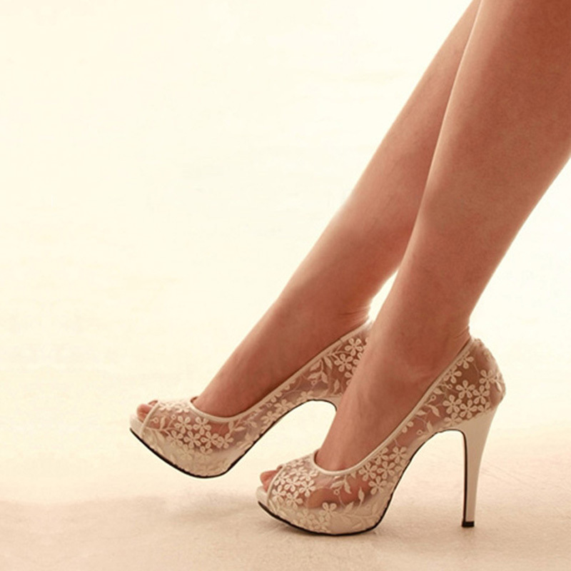 2014 Match Wedding Outfit new luxury handmade Fashion white lace flower wedding Bridal shoes