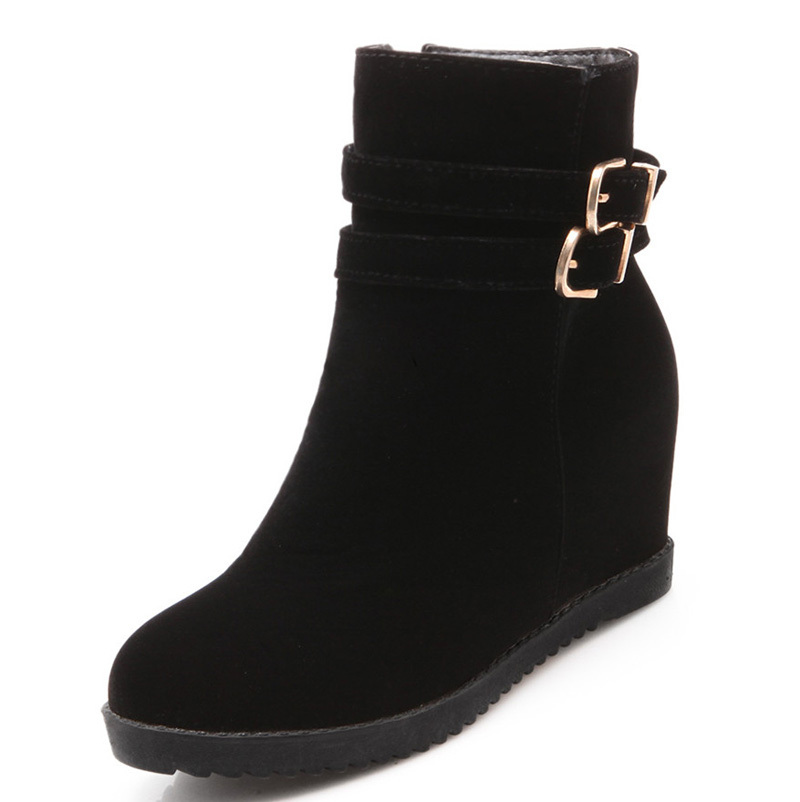Ankle boots Buckle  Round Toe wedges women  boots New Black blue red Shoes High Boots Platform new Winter Boots pumps<br><br>Aliexpress